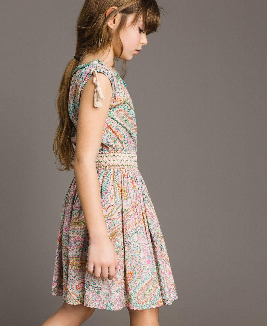 Muslin dress with paisley print Paisley Print Child 191GJ2510-0S