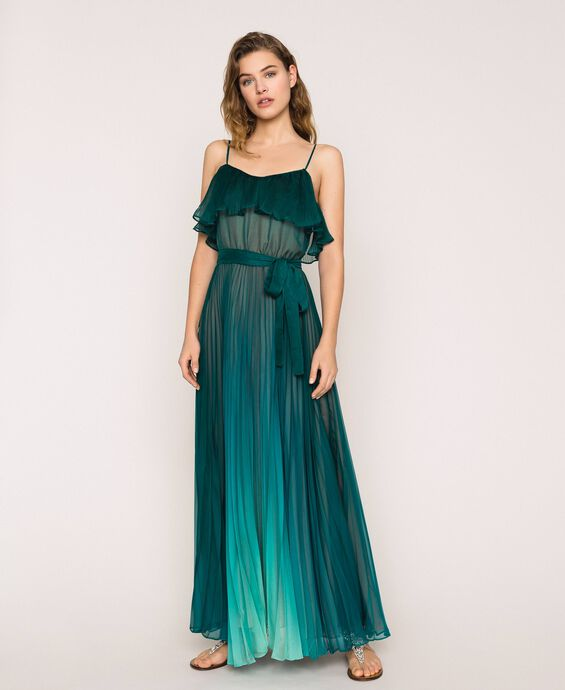 Pleated chiffon long dress
