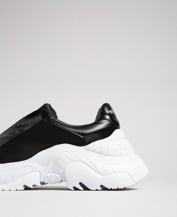 Faux leather running shoes with no laces