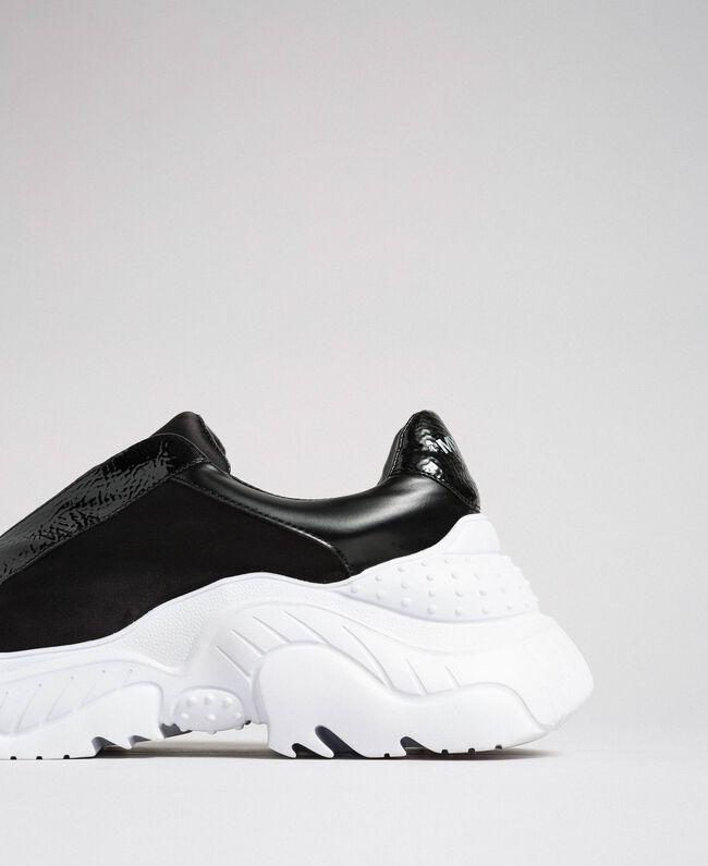 Chaussures de running en similicuir sans lacets Noir Femme 192MCP06L-01