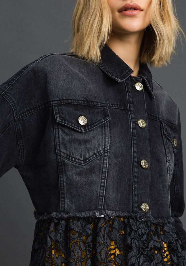 Giacca boxy in jeans e pizzo mélange