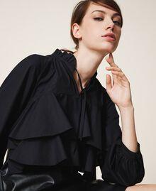 Мини-платье из поплина и искусственной кожи Черный женщина 202ST2052-04