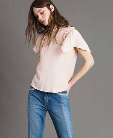 Rüschen-Bluse aus Seide-Mix Blütenknospenrosa Frau 191TP2136-05