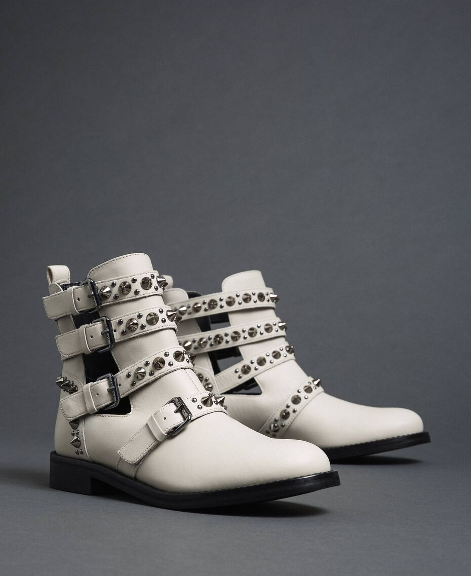 Leather biker boots with straps and studs White Snow Woman 192TCP01U-01
