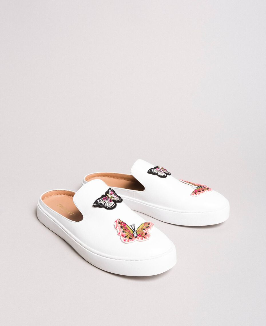 Leather mules with butterfly patches White Woman 191TCP10G-02