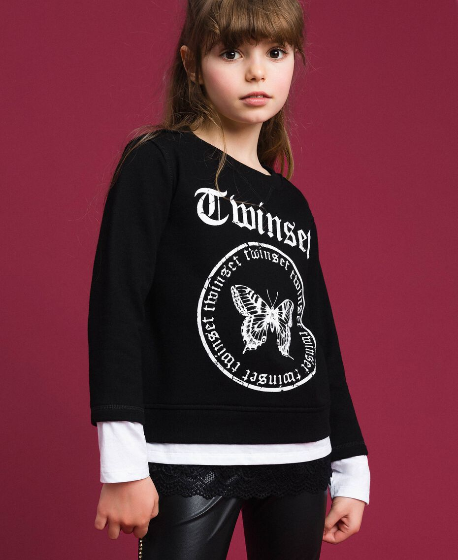 Oversize sweatshirt with print and lace Two-tone Black / Optical White Child 192GJ2391-02