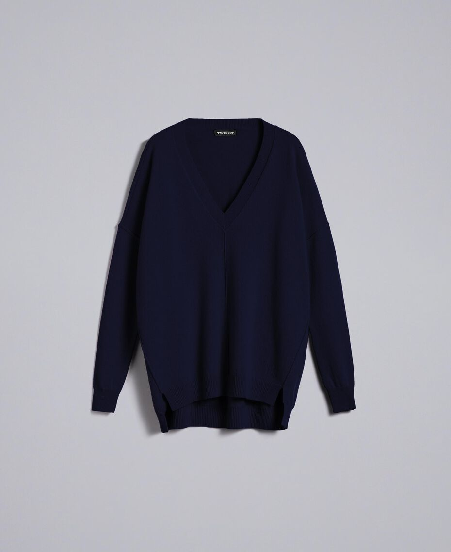 Wool and cashmere long jumper Night Blue Woman TA83AE-0S