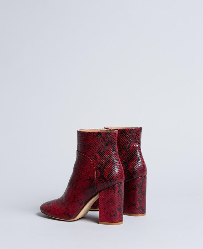 Animal print leather ankle boots Burgundy Python Woman CA8PL5-03