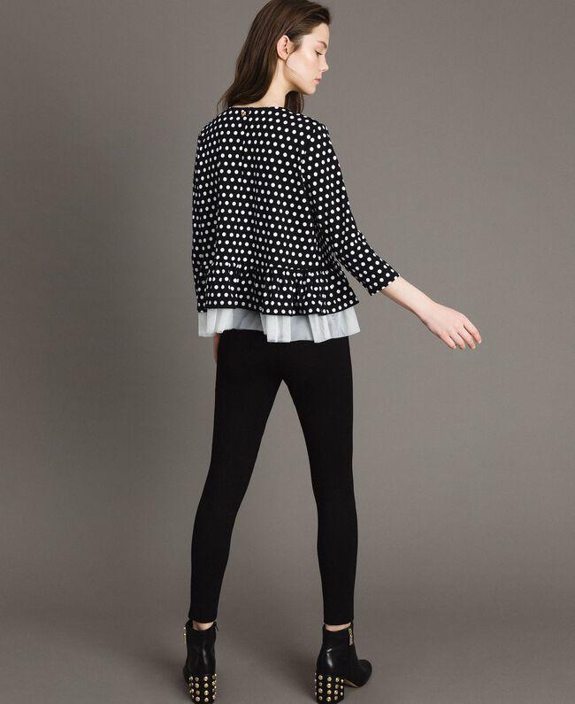 Blouse à pois avec broche nœud Bicolore Noir / Blanc Femme 191MP2363-03