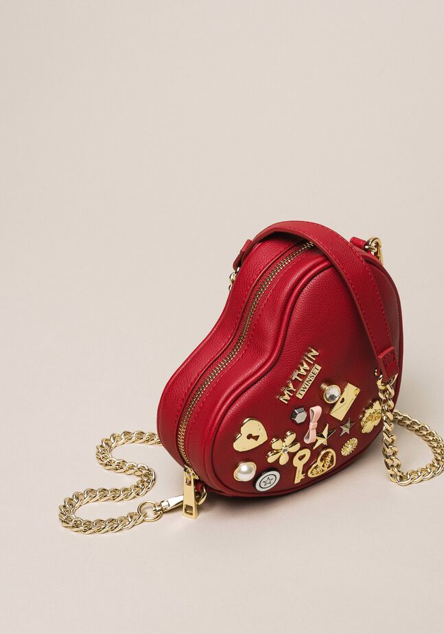 Faux leather heart shaped shoulder bag
