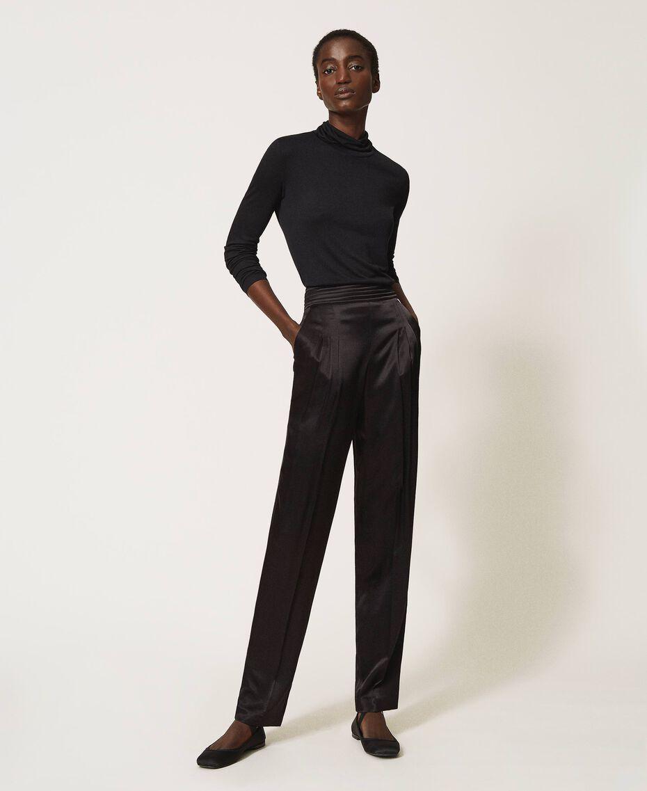 Pantalon en satin Noir Femme 202TP2144-02