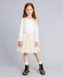 Kleid aus Lurextüll Zweifarbig Weiß / Goldlurex Kind GA82L1-02