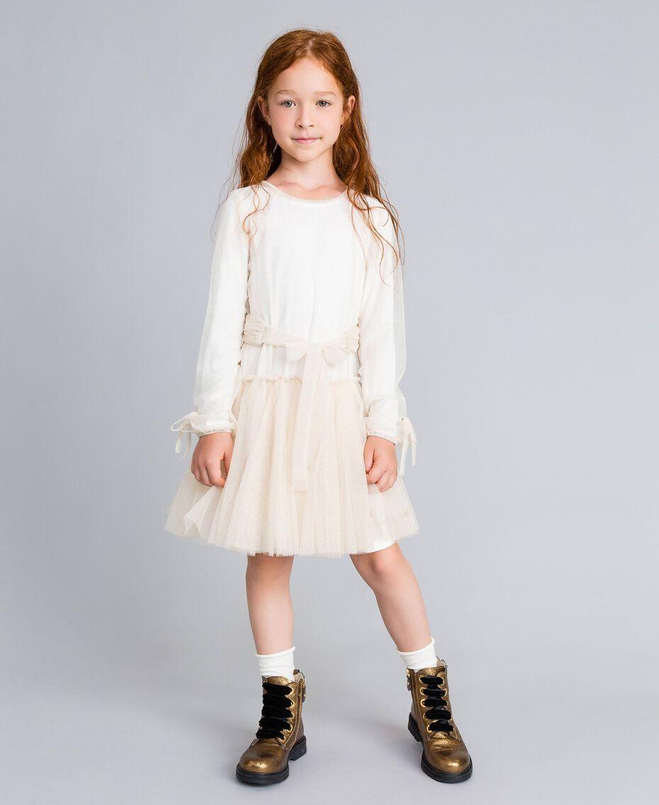 Robe en tulle lurex Bicolore Blanc / Lurex Doré Enfant GA82L1-02
