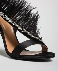 Satin sandals with feathers Black Woman 192TQP050-03