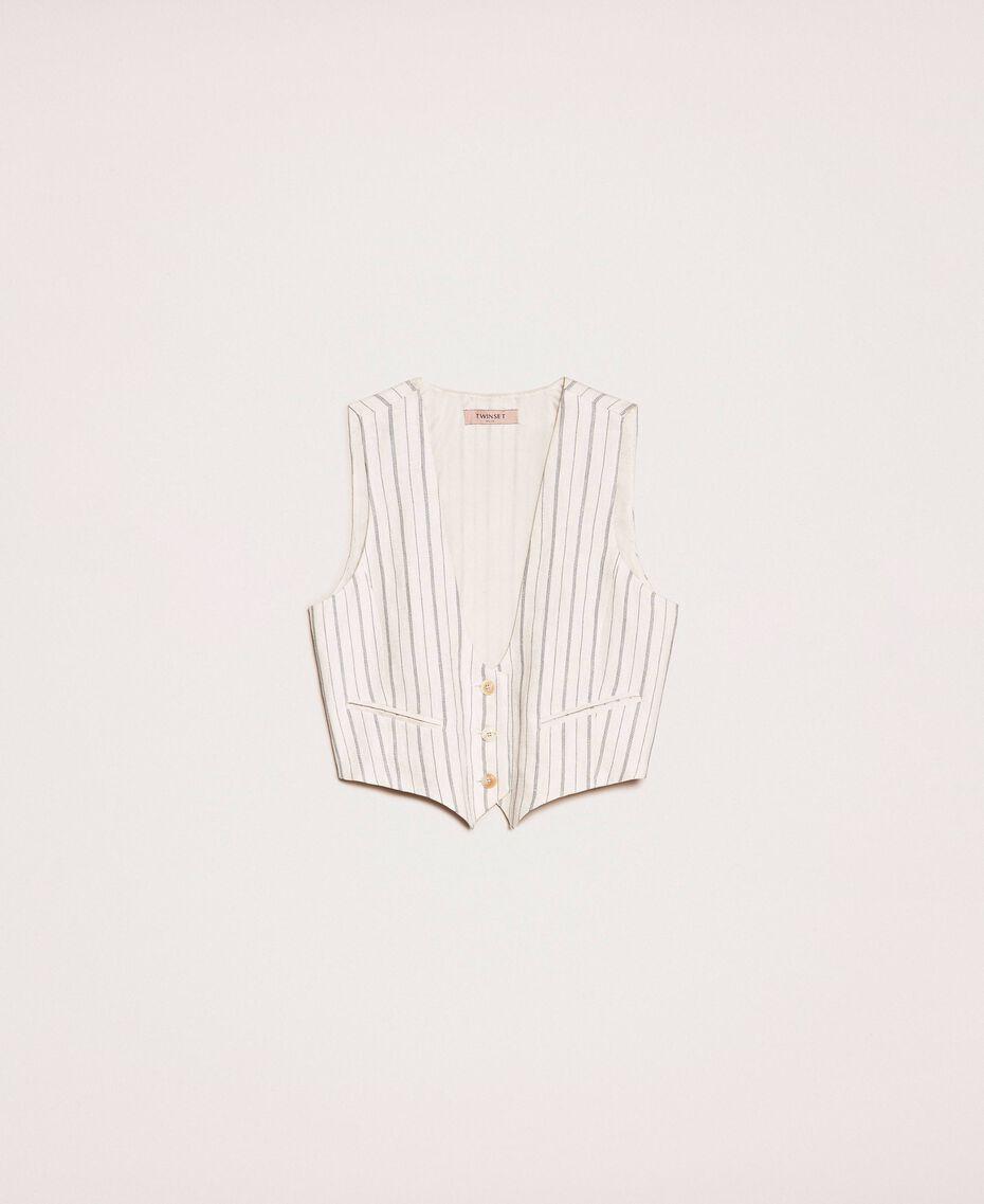 Gilet cropped in lino gessato Gessato Antique White / Blu Donna 201TT2304-0S