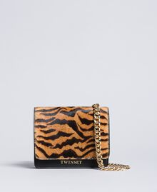 Leather and calf hair belt bag Tiger Print Woman OA8TDR-02