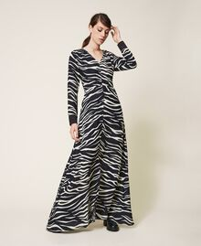 Animal print crêpe de Chine dress Black / Cream White Zebra Print Woman 202MP2430-06