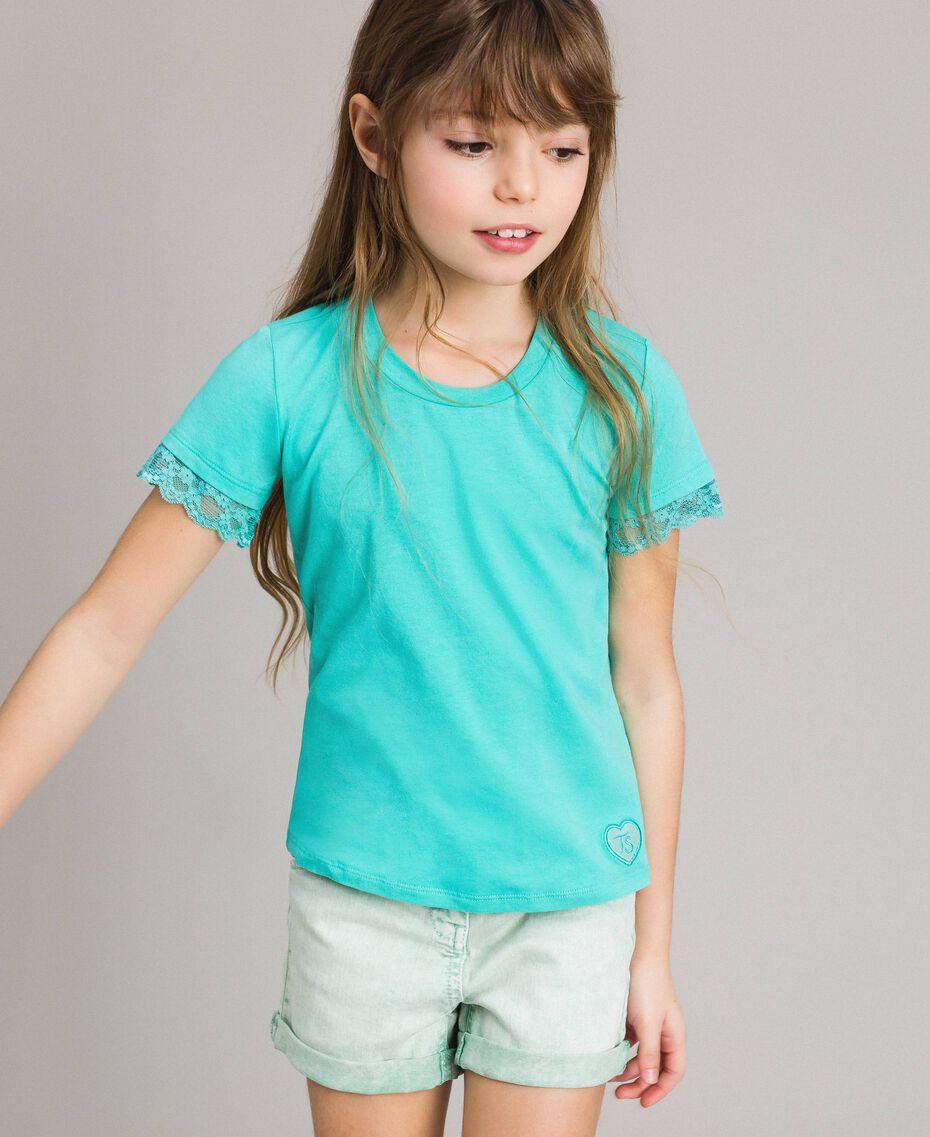 "Jersey T-shirt with lace ""Island Paradise"" Light Blue Child 191GJ2180-02"