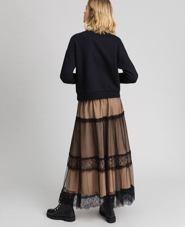 Tulle, Valenciennes lace and plumetis skirt Two-tone Black / Nude Woman 192TP2333-03