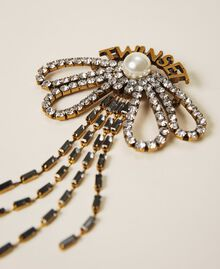 Bow shaped brooch with rhinestones and fringes Crystal Woman 202TO5044-01