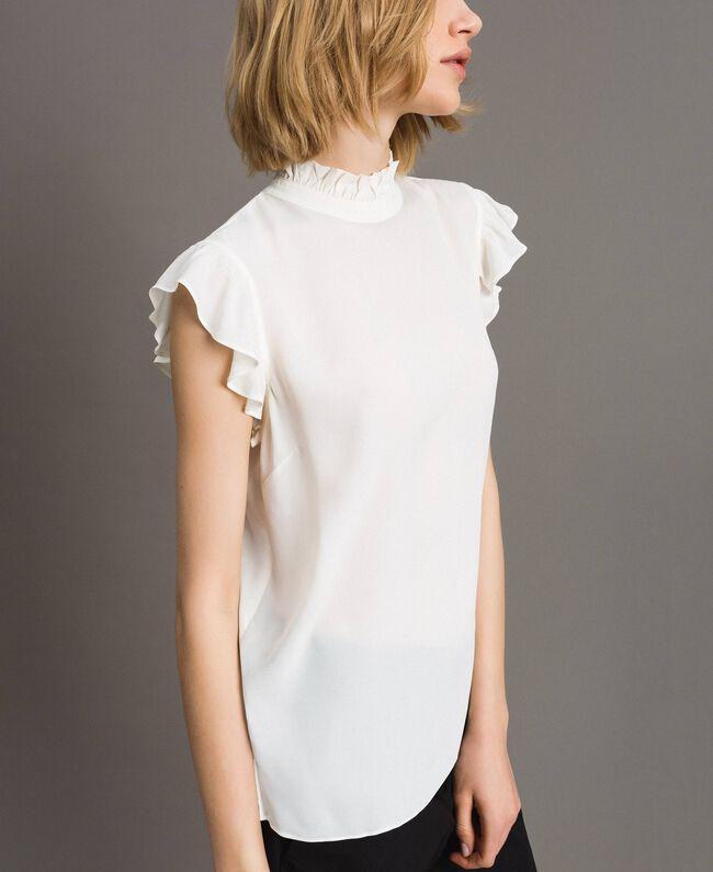 Blouse en soie mélangée ornée de ruches Blanc Neige Femme 191TT2076-04