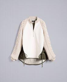 Blouson en faux mouton et nylon Bicolore Vert Forêt / Blanc Neige Femme TA82BP-0S