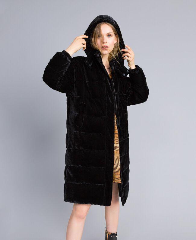 Doudoune longue en velours Noir Femme TA82BB-01
