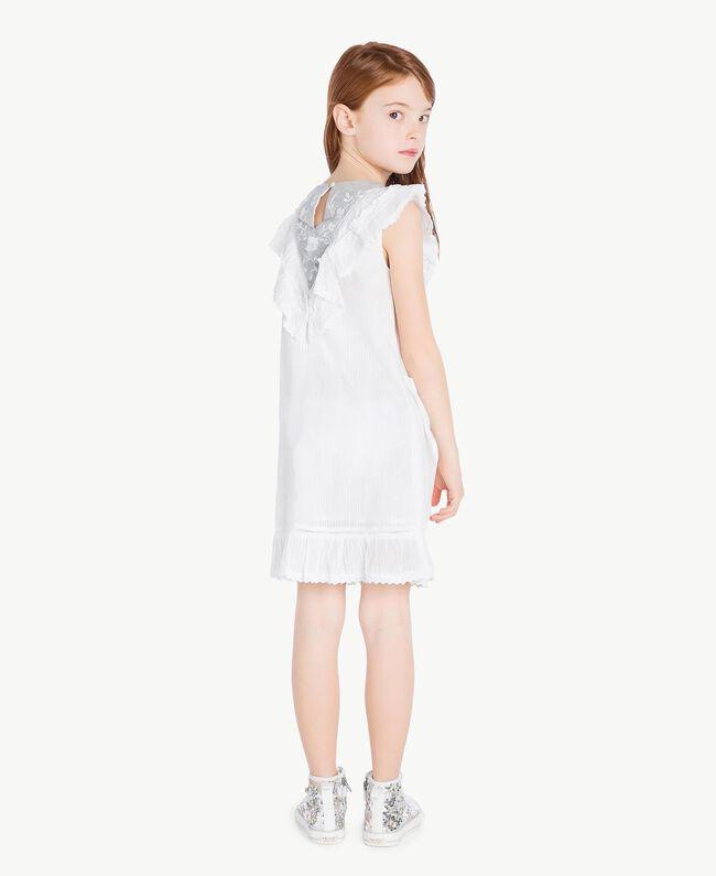 "Embroidered dress ""Papyrus"" White Jacquard Stripes / Light Melange Grey Child GS82LA-04"
