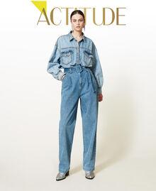 """Jeans 'Azurite' con cintura Blu """"Denim Medio"""" Donna 212AP238A-01"""