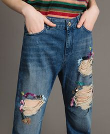 Destroyed girlfriend jeans with sequins Denim Blue Woman 191MT2184-04
