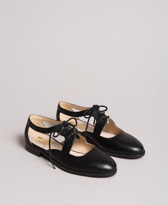 Troquelado Piel De Sintética Cordones Zapatos Con MujerNegro QrsCBhdoxt