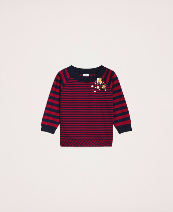 Striped sweatshirt with sequin embroidery