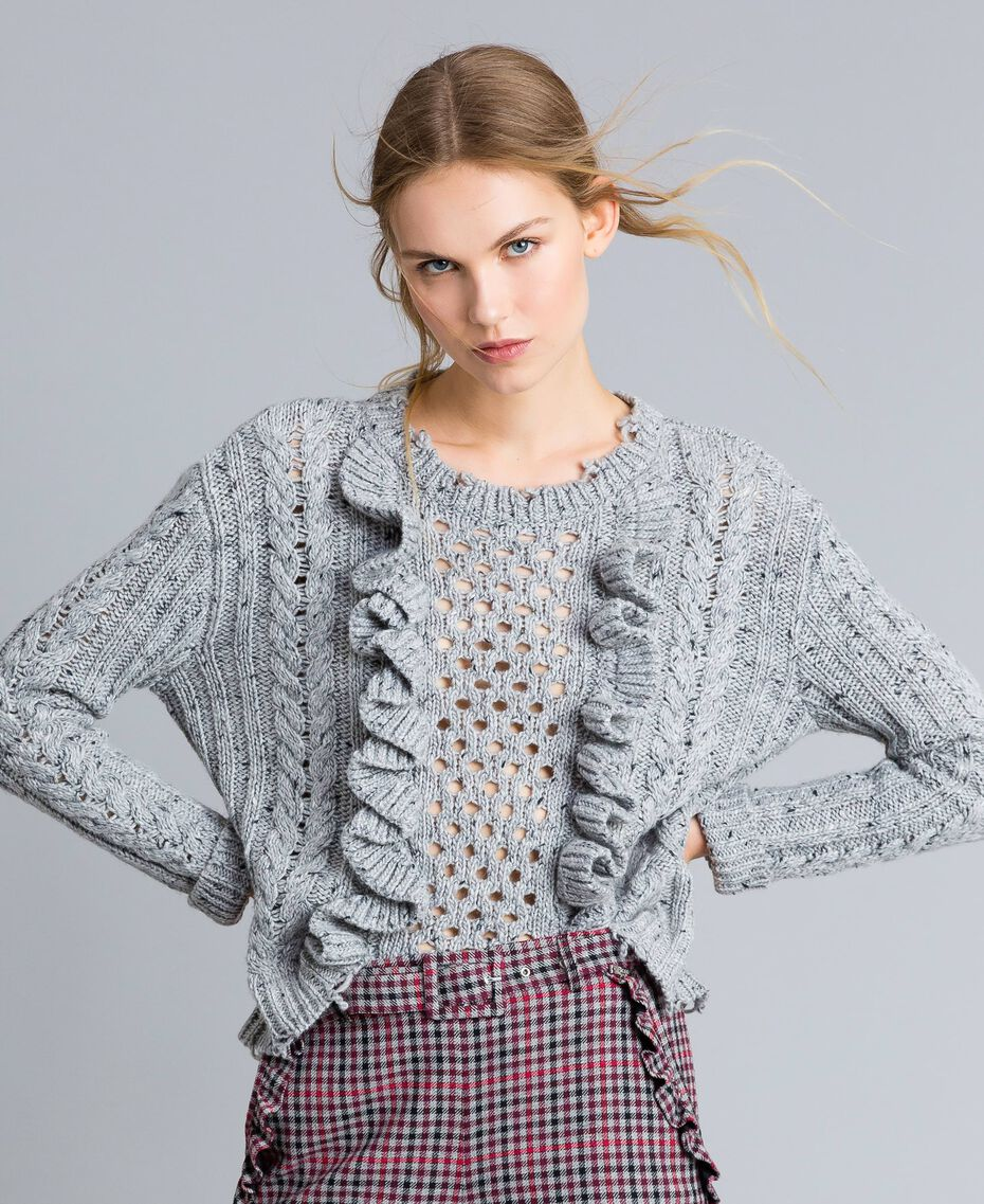 Tweed jumper with ruches Light Gray Mélange Woman SA83DA-01