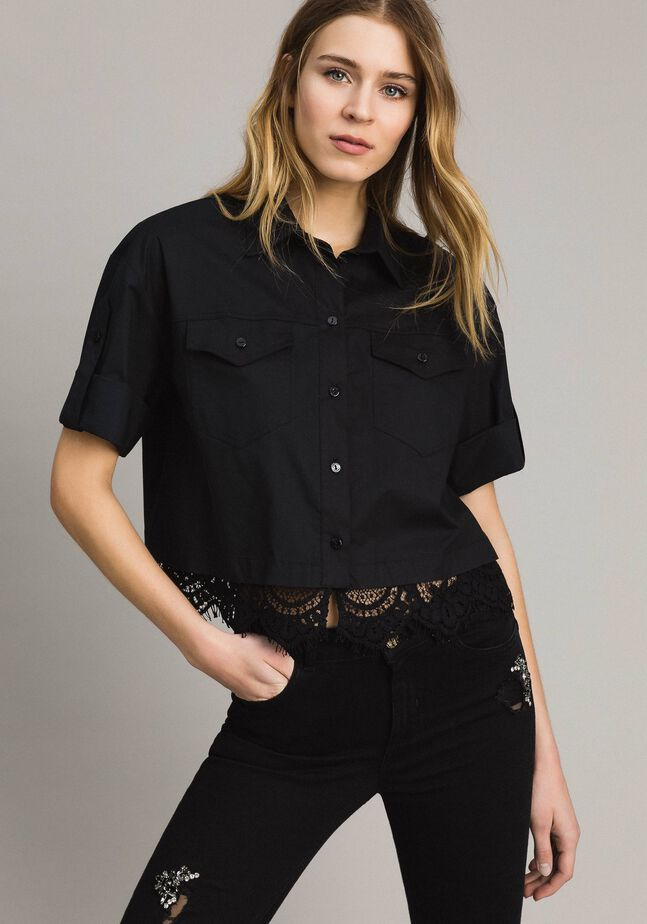 Popeline-Hemd mit Spitze