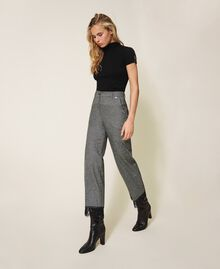 """Cropped wool trousers with lace """"Salt Pepper Snow"""" / Black Woman 202TP2382-03"""