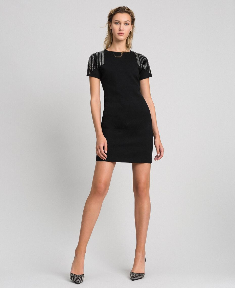 Sheath dress with rhinestone chains Black Woman 192TT3075-02