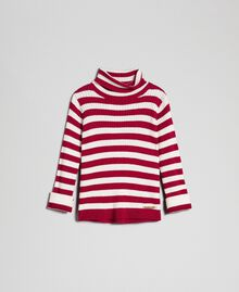 Ribbed mock turtleneck with two-tone stripes Ruby Wine Striped Jacquard / Oat Child 192GB3170-01