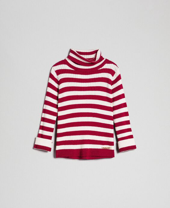 Ribbed mock turtleneck with two-tone stripes