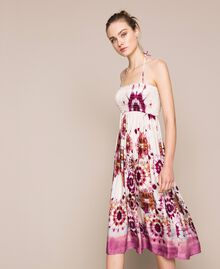 Printed satin skirt-dress Flirty Rose Unevenly Dyed Print Woman 201LB2GLL-04