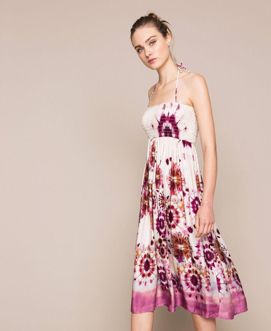 Printed satin skirt-dress Flirty Rose Unevenly Dyed Print Woman 201LB2GLL-04