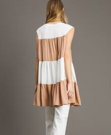 "Jersey and muslin mini dress Two-tone Ivory / ""Petra Sandstone"" Brown Woman 191LM2HHH-03"