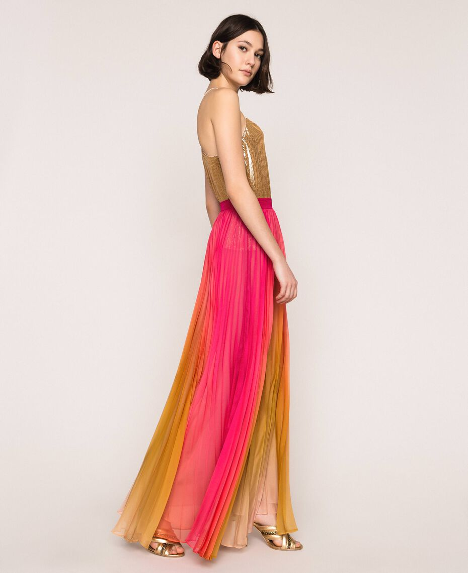 "Pleated chiffon long skirt ""Sugar Coral"" Red / Golden Yellow Fadeout Print Woman 201TT2520-02"