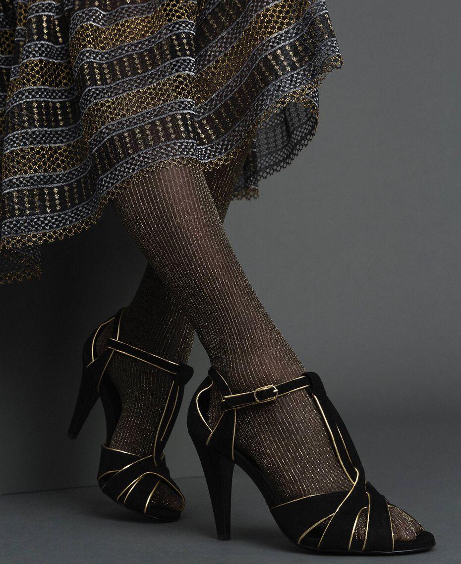 Sandalette aus Rauleder Schwarz Frau 192TCT01G-0S