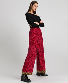 "Animal print palazzo trousers ""Poppy"" Red / Black Animal Print Woman 192MP2374-02"