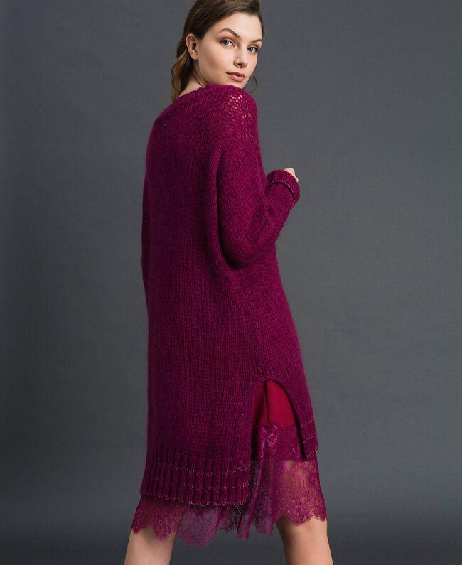 Kleid aus Mohair mit Lurexstreifen und Unterkleid Rote-Bete-Rot Frau 192TP3291-03