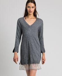 Robe avec bandes en lurex et fond de robe Gris moyen chiné Femme 192MP3100-01