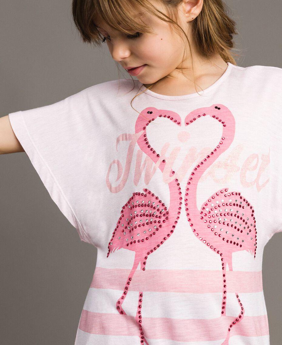 "Gestreiftes Maxi-T-Shirt aus Jerseystoff mit Strass ""Crystal Pink"" Melange Kind 191GJ2721-0S"