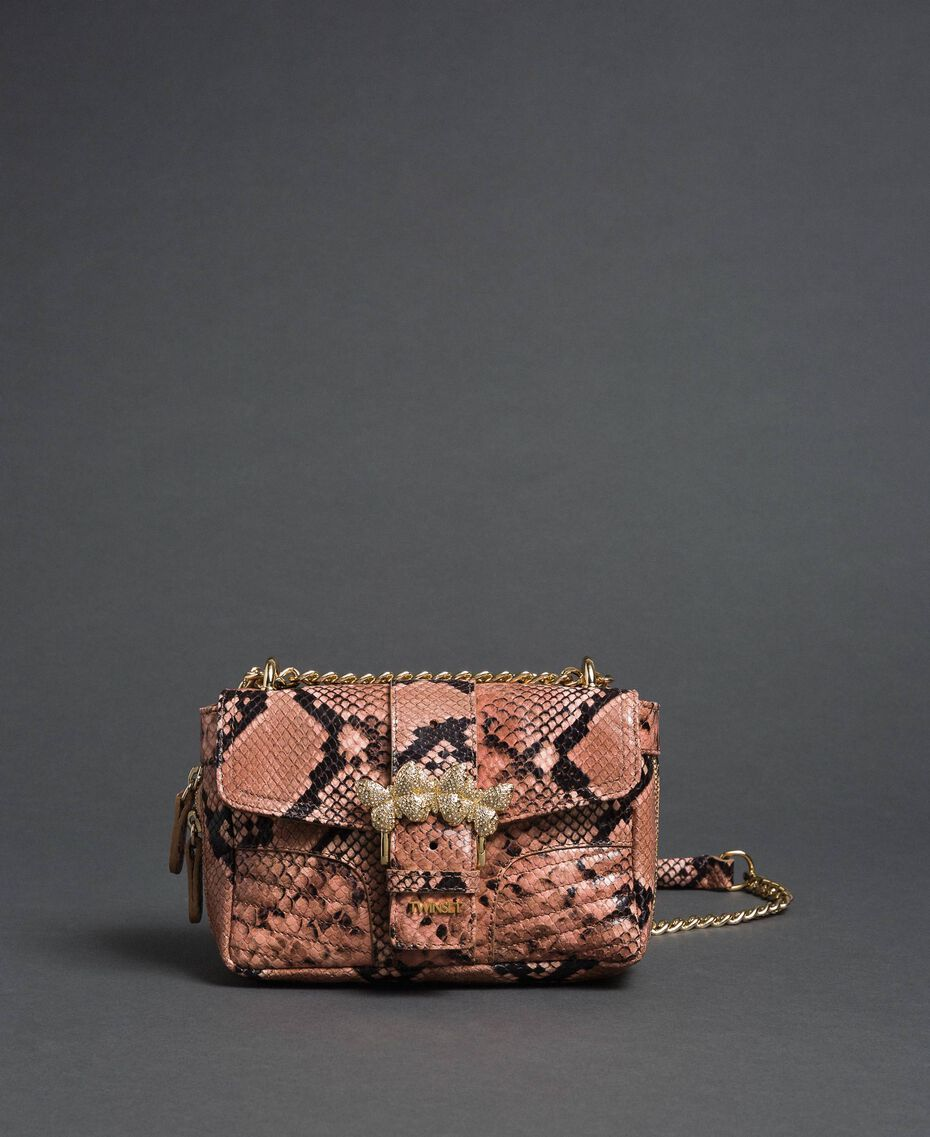 "Small Rebel shoulder bag with python print ""Anthracite"" Grey Python Print Woman 192TA7231-03"