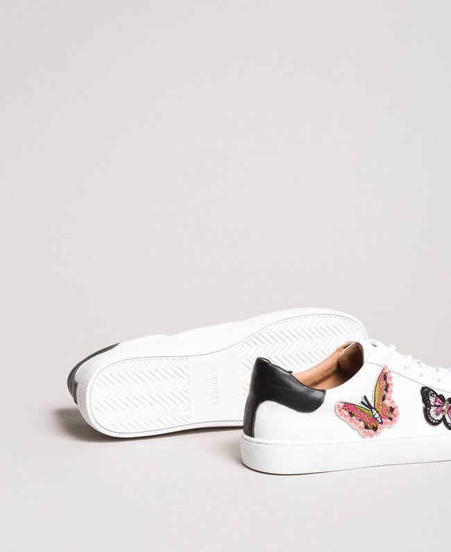 Baskets en cuir ornés de patchs papillons Blanc Femme 191TCP10E-04