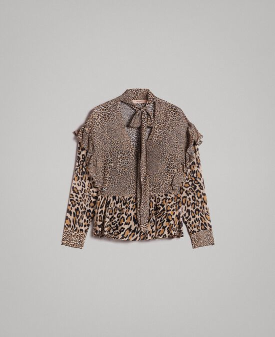 Blusa in georgette animalier